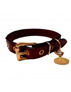 collar perro piel doble marron