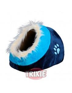Cuna para perro con funda de peluche y cojín reversible modelo Minou azul