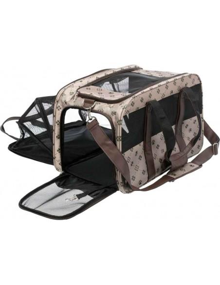 Bolso de transporte para llevar perro en poliester color beige y marrón