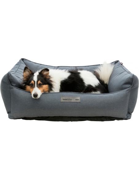 cama especial perro gris