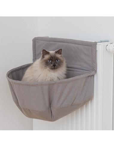 Cama para gato de radiador, en peluche gris
