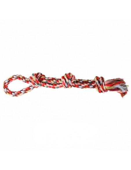 Juguetes para perros mordedor cuerda algodón doble con nudos