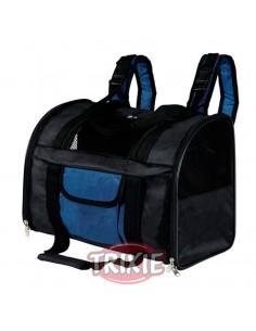 Mochila para transporte de perros en Nylon negro y azul modelo Connor