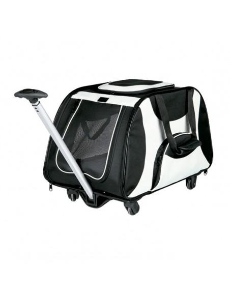 Trolley para transporte de perros en nylon alta resistencia negro y gris