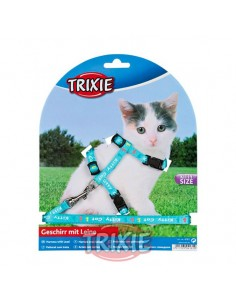 Arnés y correa para gato cachorro turquesa con dibujos Kitty