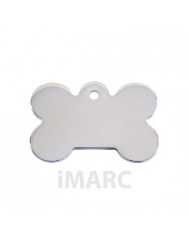 Placa identificativa para perro, hueso bañado en plata