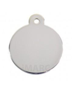 Placa identificativa para perro, redonda bañado en plata