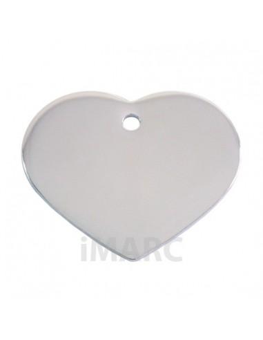 Placa identificativa para perro, corazón bañada en plata