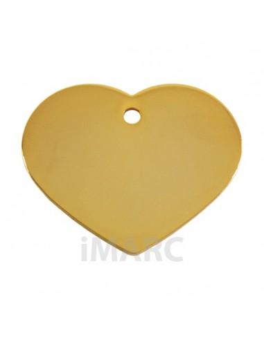 Placa identificativa para perro, corazón bañada en oro pequeña