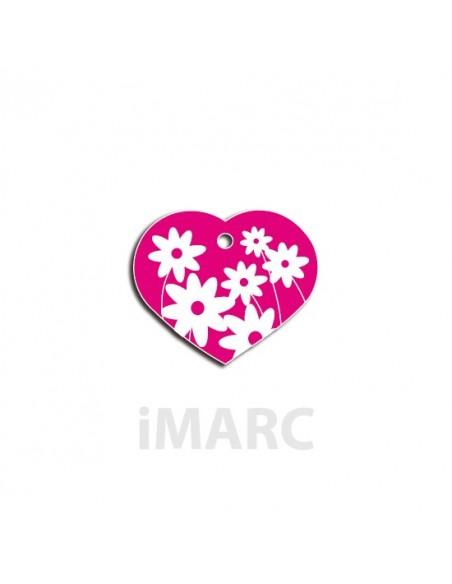 Placa identificativa para perro, corazón con margaritas en colores pequeña