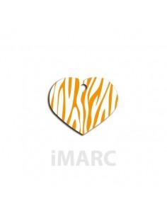 placa identificativa perro corazon cebra naranja