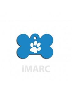 Placa identificativa para perro, hueso pequeño decorado huella