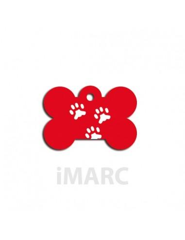 Placa identificativa para perro,  hueso decorado tres huellas