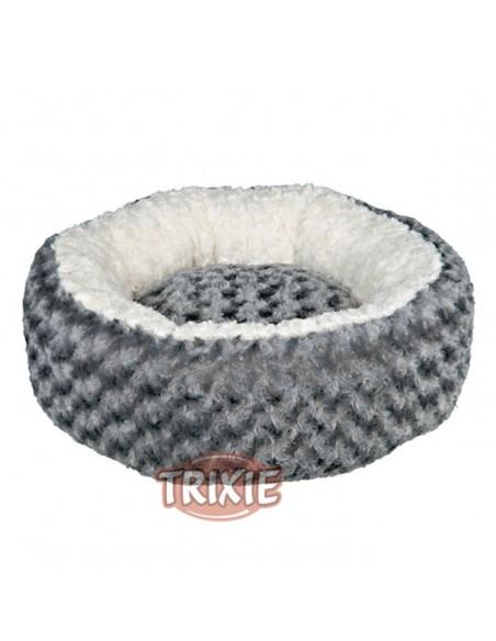 Cama para perro redonda, realizada en borreguilllo color gris y crema