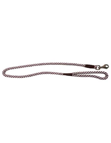 Correa para perro cordón tipo cuerda blanco y granate