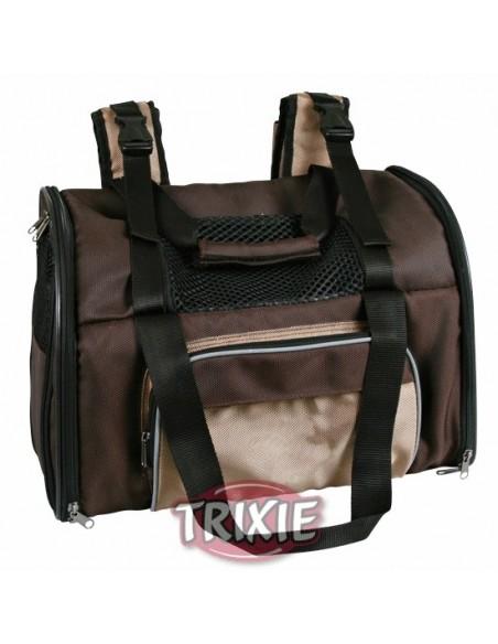 Mochila para transporte de perros en nylon marrón