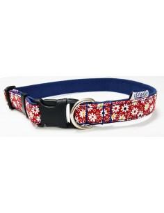 Collar para perro loneta roja con flores blancas