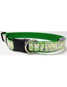 Collares para perro loneta verde con flores