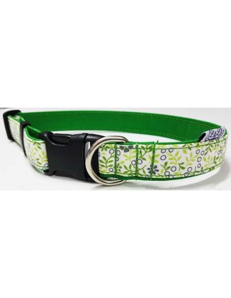 Collar para perro loneta verde con flores