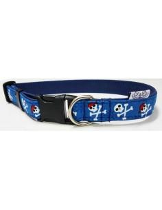 Collar para perro loneta azul con motivos de piratas