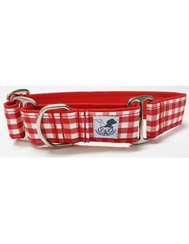 Collar para perro grande en tela loneta muy resistente cuadros rojos y blancos