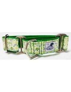 Collar para perro grande en tela loneta muy resistente verde con flores