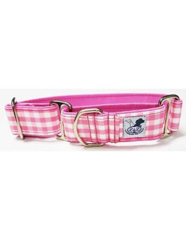 Collar para perro grande en tela loneta muy resistente cuadros rosas y blancos
