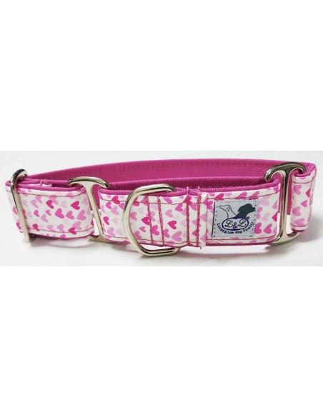 Collar para perro grande en tela loneta muy resistente rosa con corazones