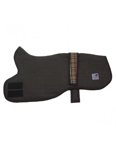 Abrigo para galgo Whippet en color marrón forrado