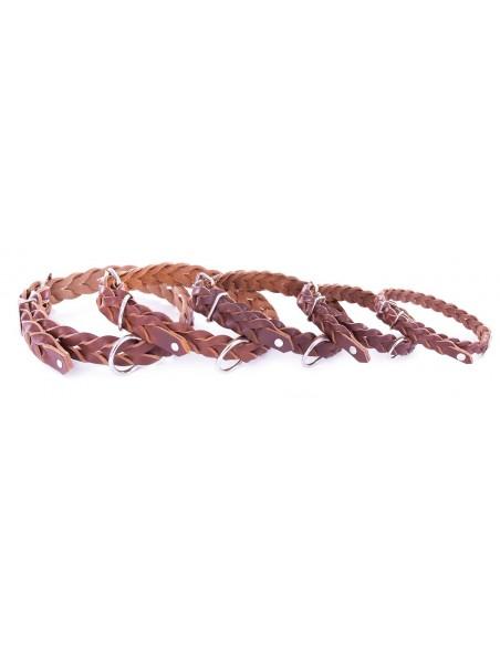 Collares para perros Piel Flor trenzado marrón