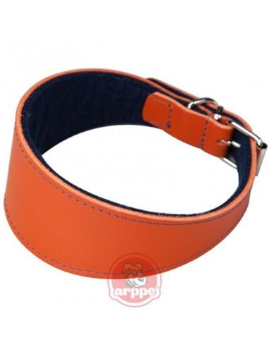 Collar para galgo piel flor naranja ancho forrado
