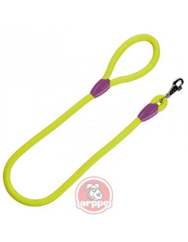 Correa para perro cordón tipo cuerda verde fluor