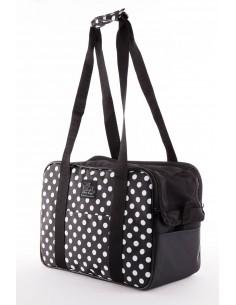 Bolso rigido para transporte de perros/gatos, negro con topitoss