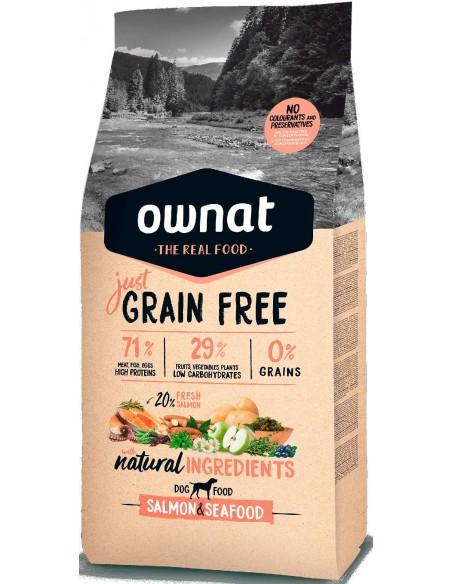 Pienso para perros adultos OWNAT Just Grain Free salmón