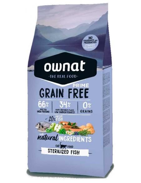 Pienso para gatos OWNAT Grain Free Esterilizados pescado