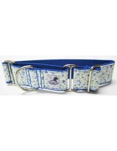 Collar para piccolo en tela loneta muy resistente de flores azules