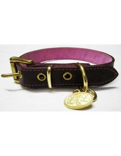 Collar para perro de piel marrón modelo flor rosa