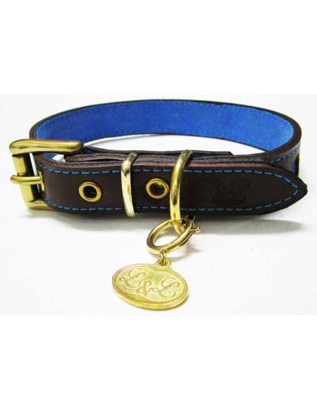Collar para perro de piel marrón modelo flor azul
