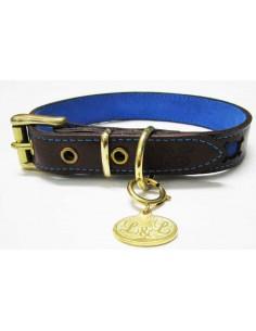 Collar para perro de piel marrón modelo calavera azul