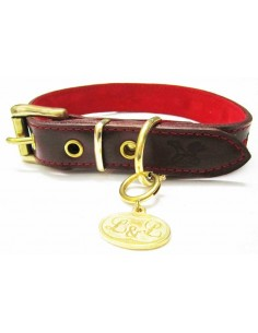 Collar para perro de piel marrón modelo flor roja