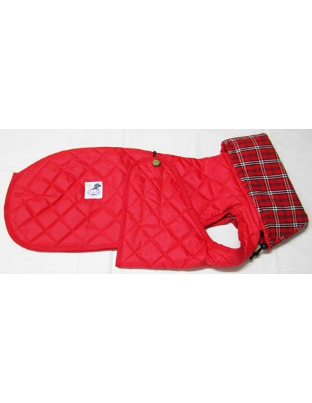 Ropa para perro -  abrigo Impermeable Acolchado Galgo color rojo